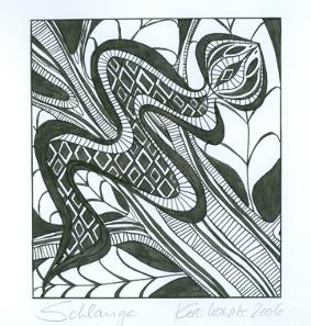 """""""Schlange"""", Tusche auf Zeichenkarton, ca. 10 x 12 cm auf A3 (c) by Cordula Kerlikowski"""