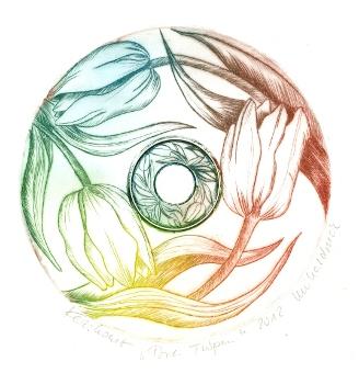 """Drei Tulpen"", 2012, Unikatdruck  - Kaltnadelradierung auf CD, (c) Cordula Kerlikowski"