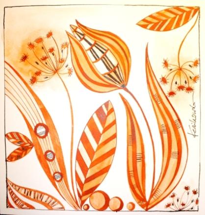 """""""Wiese abstrakt"""", 30 x 30 cm, Zeichnung auf satiniertem Aquarellpapier, (c) by Cordula Kerlikowski"""