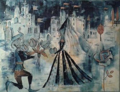 """""""Die Hochzeit des Tulpenprinzen"""" Acryl/Mischtechnik auf Leinwand, 60 x 80 cm, (c) Cordula Kerlikowski"""